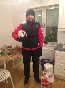 Off to play football Sweden style. Still cold at night? Oh yes.